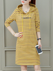 Hooded  Drawstring  Letters Striped Shift Dress