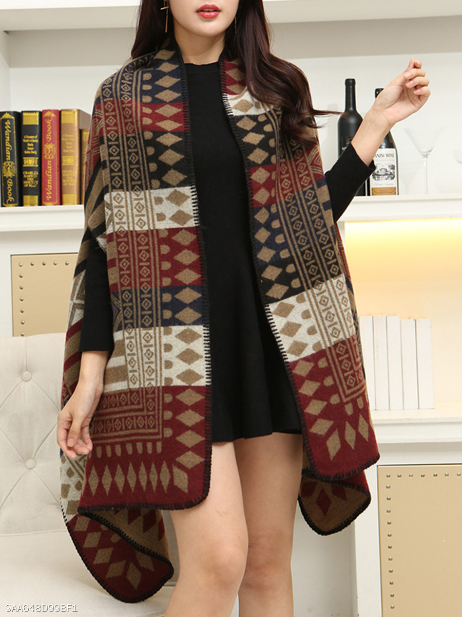 Collarless  Printed  Long Sleeve Cape