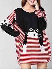 Round-Neck-Cat-Color-Block-Striped-Plus-Size-T-Shirt