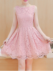 Round Neck  Lace Skater Dress