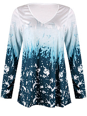 Autumn Spring  Polyester  Women  V-Neck  Abstract Print Long Sleeve T-Shirts