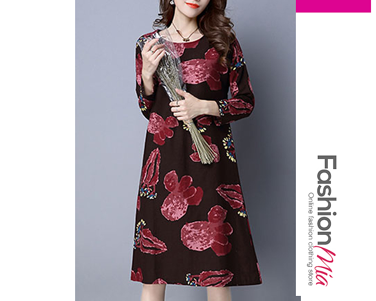 Round Neck  Printed Shift Dress 9AB55B32A8A4
