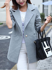 Lapel Pocket Single Button Plain Woolen Coat
