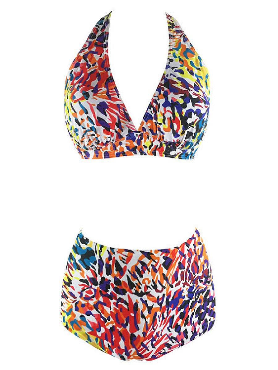 Deep V-Neck  Cartoon Swimwear