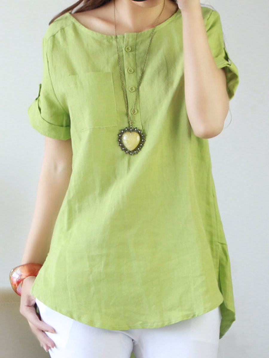 Round Neck Asymmetric Hem Decorative Button Plain Roll-Up Sleeve Short  Sleeve Blouses
