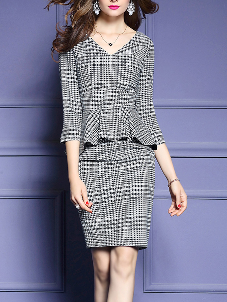 V-Neck  Plaid  Blend Bodycon Dress