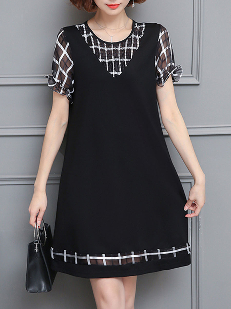 Hollow Out Plaid Round Neck Shift Dress