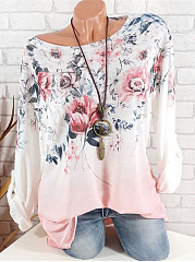 Polyester  Round Neck  Floral Printed  Long Sleeve Long Sleeve T-Shirts