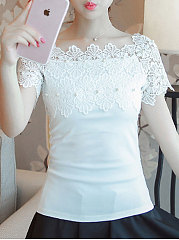 Summer  Cotton  Women  Square Neck  Beading Decorative Lace  Plain  Short Sleeve Blouses