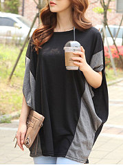 Spring Summer  Polyester  Women  Round Neck  Patchwork  Plain  Batwing Sleeve Short Sleeve T-Shirts