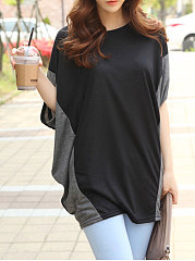 Spring-Summer-Polyester-Women-Round-Neck-Patchwork-Plain-Batwing-Sleeve-Short-Sleeve-T-Shirts