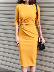 Basic Round Neck  Plain Bodycon Dress