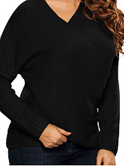 Surplice  Loose Fitting  Plain  Knit Pullover