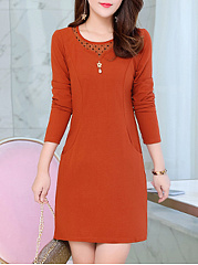 Round Neck Midi  Patchwork  Plain Shift Dress