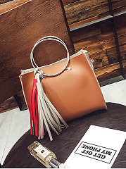 Color Block Squared Tassel Round Handle Handbag