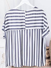 Summer  Cotton  Women  Round Neck  Striped  Bell Sleeve  Short Sleeve Blouses