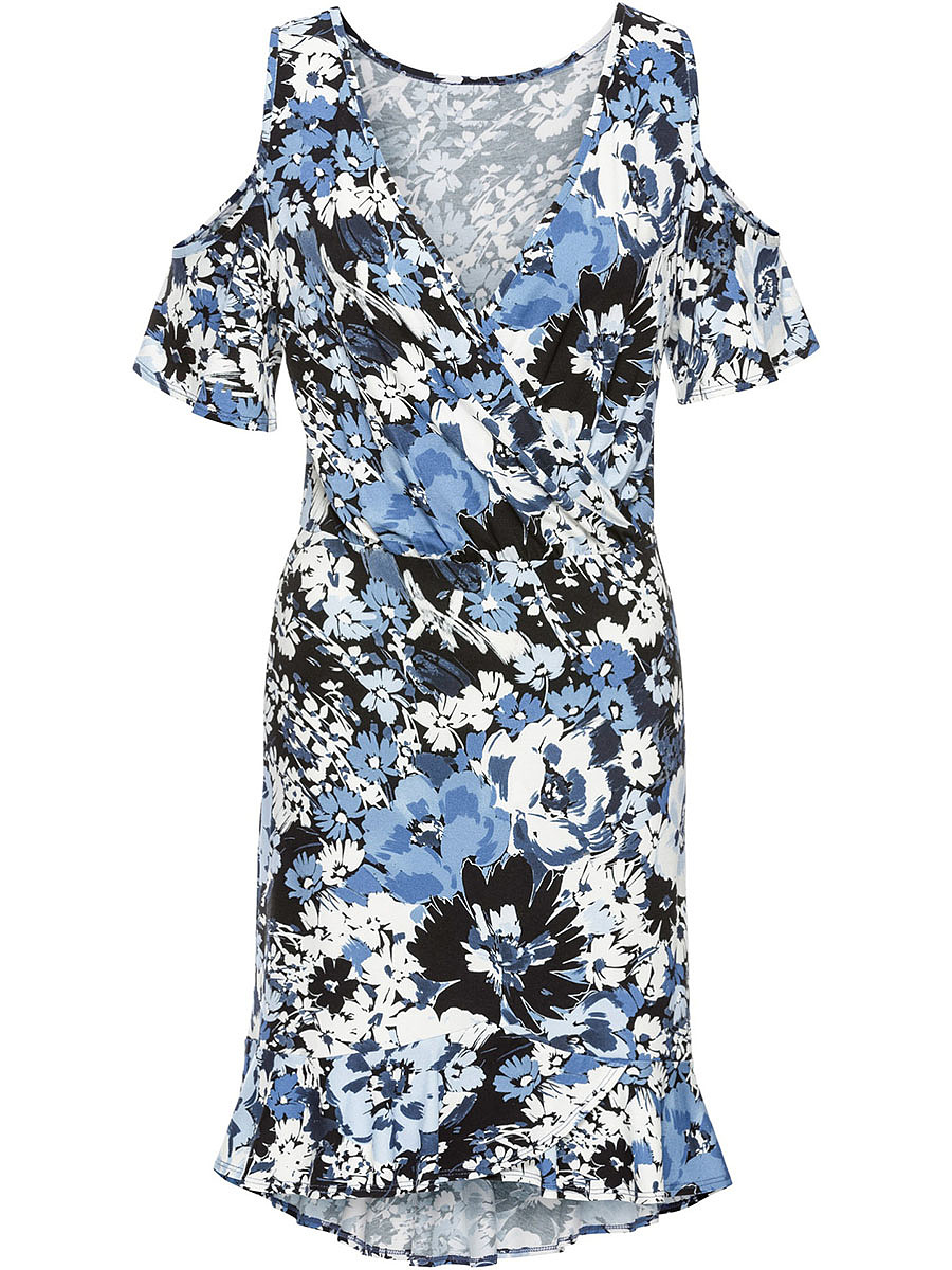 Open Shoulder Ruffled Hem Floral Bodycon Dress