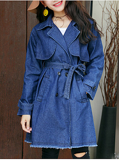 Lapel Denim Double Breasted Belt Plain Trench Coat
