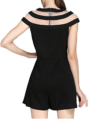 Fancy Crew Neck Hollow Out Plain Romper
