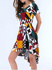 High-Low Color Block Geometric Round Neck Skater Dress