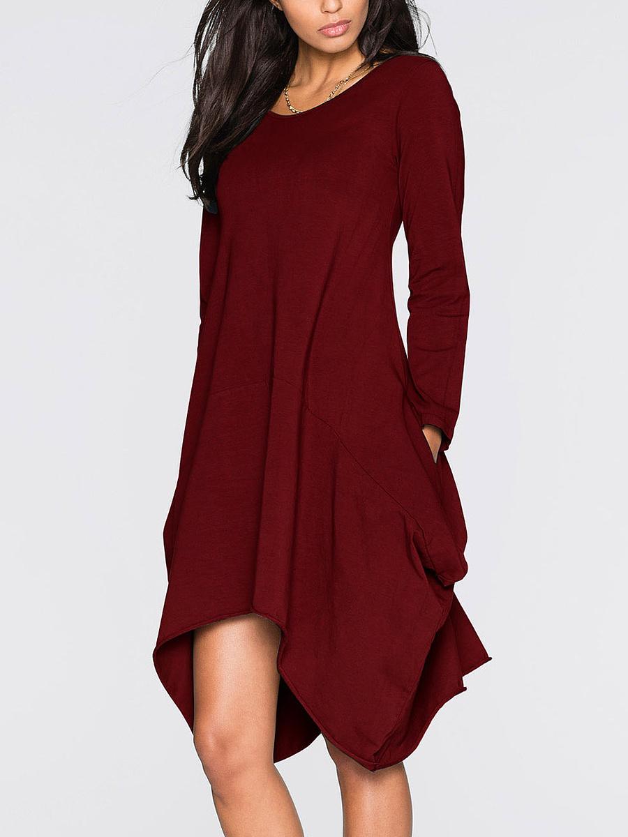 Color Round Neck Bodycon Block Hem Dresses Asymmetric cheap