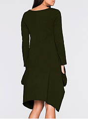 Round Neck Asymmetric Hem Pocket Plain Shift Dress