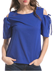 Summer  Polyester  Women  Open Shoulder  Plain  Short Sleeve Blouses