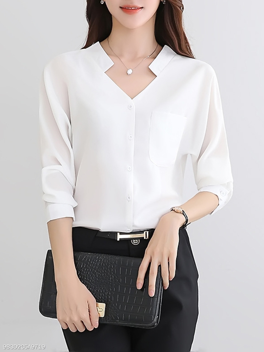 V-Neck  Patch Pocket  Plain  Long Sleeve Blouses