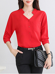 ... V-Neck Patch Pocket Plain Long Sleeve Blouses ...