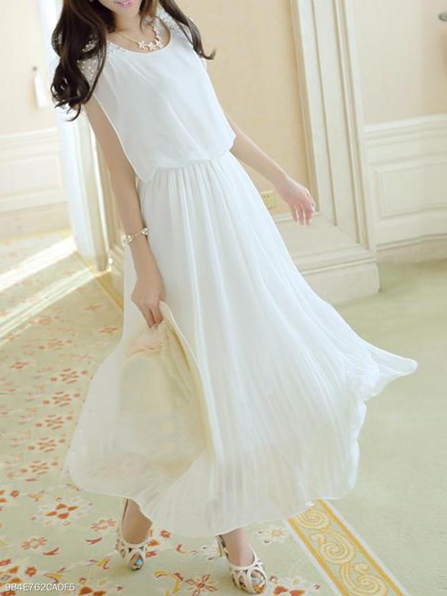 Round Neck Beading Plain Pleated Bodice Maxi Dress Fashionmia Com