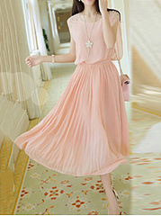 Round Neck  Beading  Plain Pleated Bodice Maxi Dress