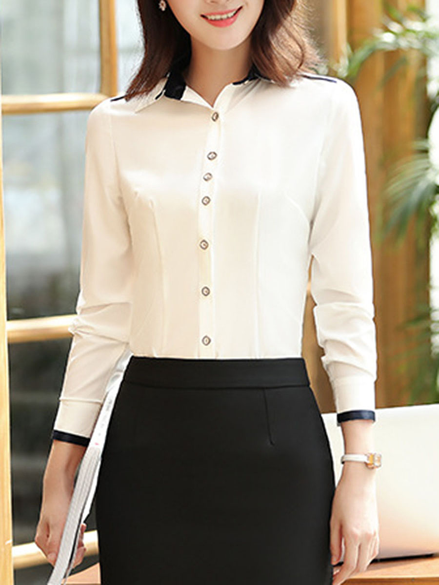 Fitted Turn Down Collar Contrast Trim Blouse