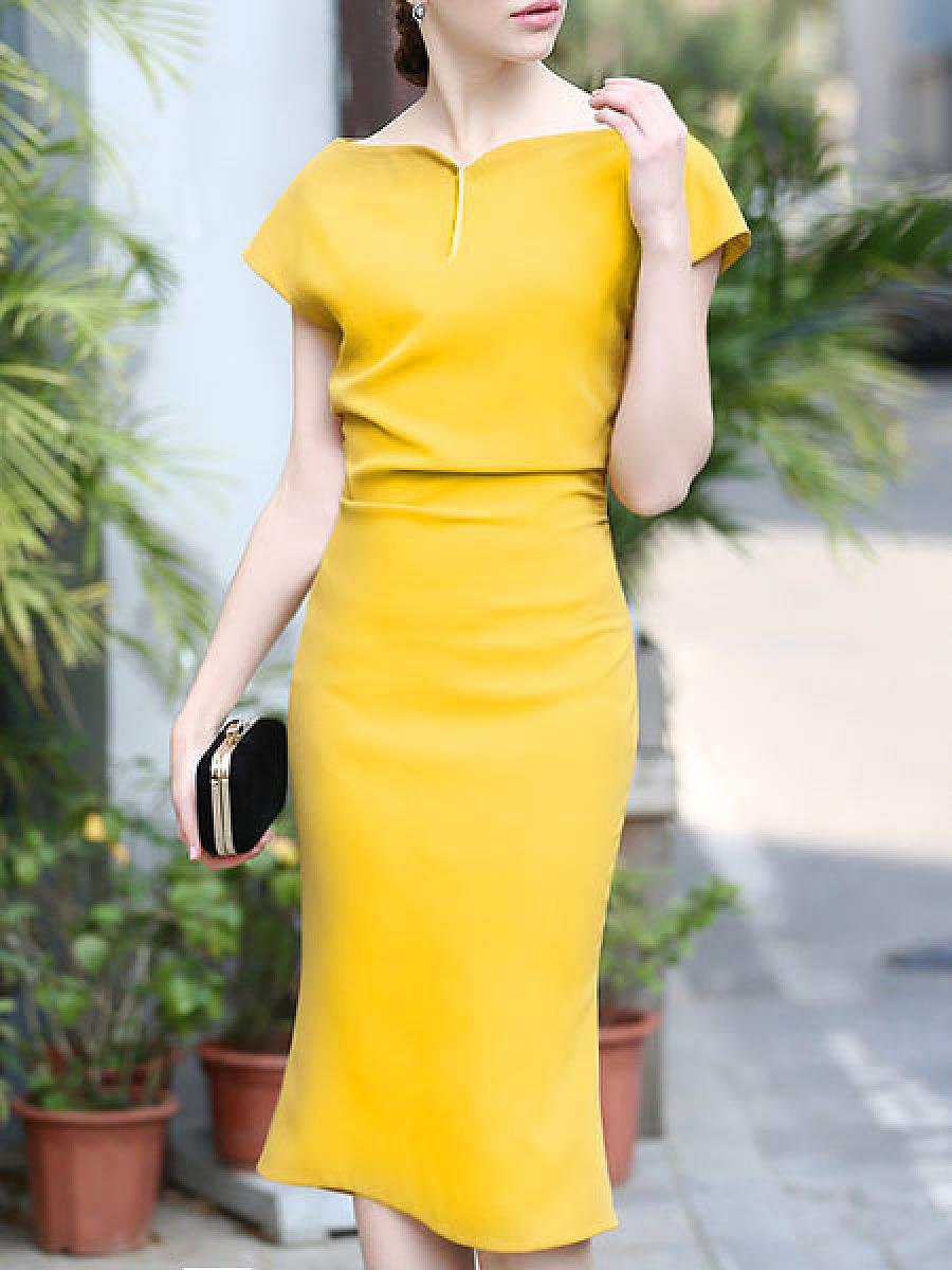 Fashion Sweet Heart  Plain Bodycon Dresses