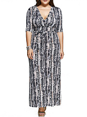 V-Neck  Belt  Printed Plus Size Midi & Maxi Dresses