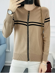 Round Neck  Contrast Piping  Plain  Long Sleeve Jackets