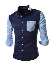 Attractive Turn Down Collar Color Block Men Shirt