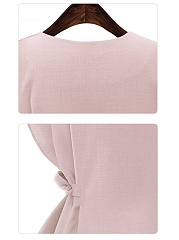 Round Neck  Scalloped Hem  Plain  Short Sleeve Plus Size Blouses