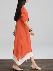 Color Block Asymmetric Hem Maxi Dress