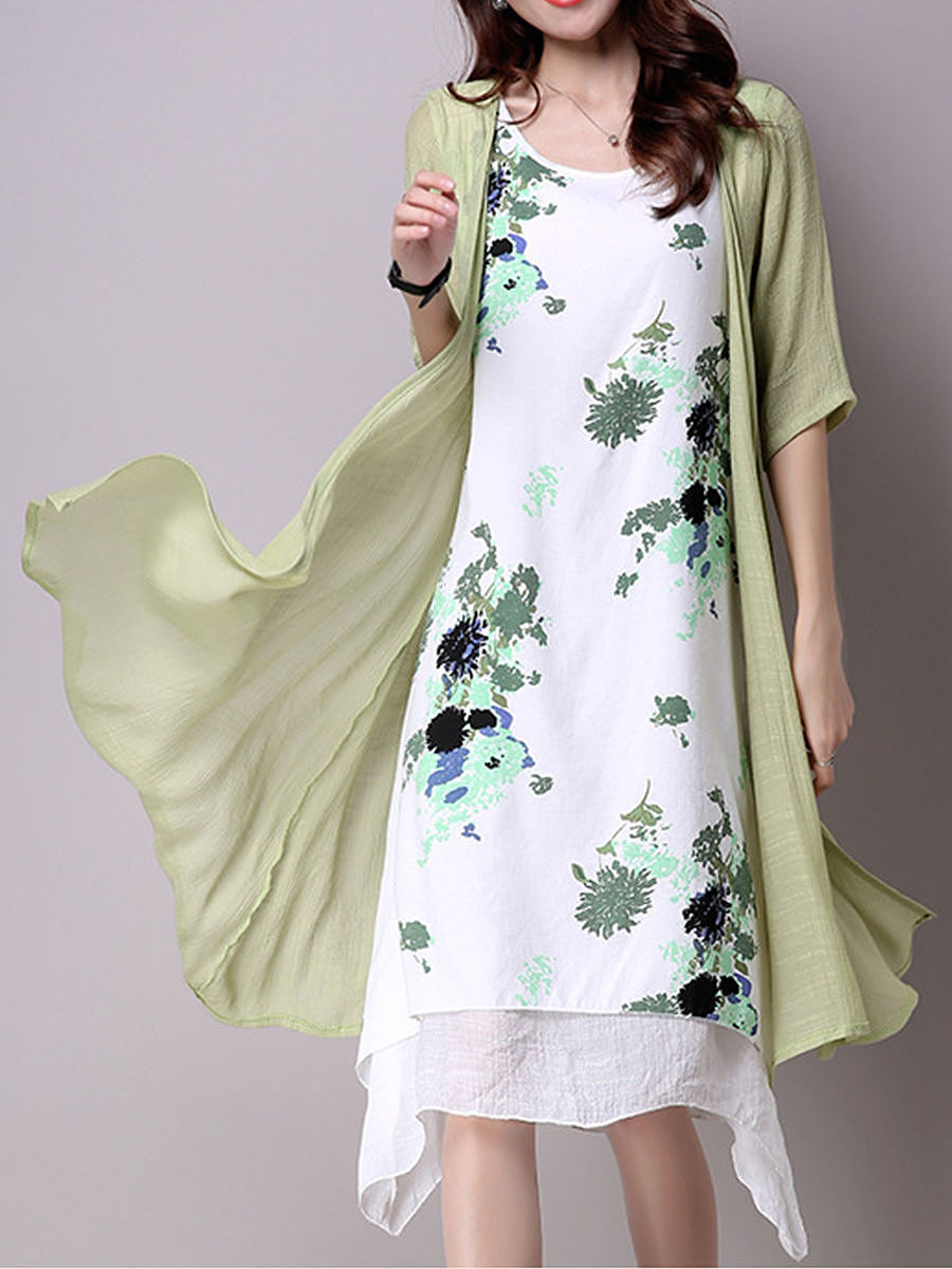 Round Neck  Cutout  Floral  Blend Maxi Dresses