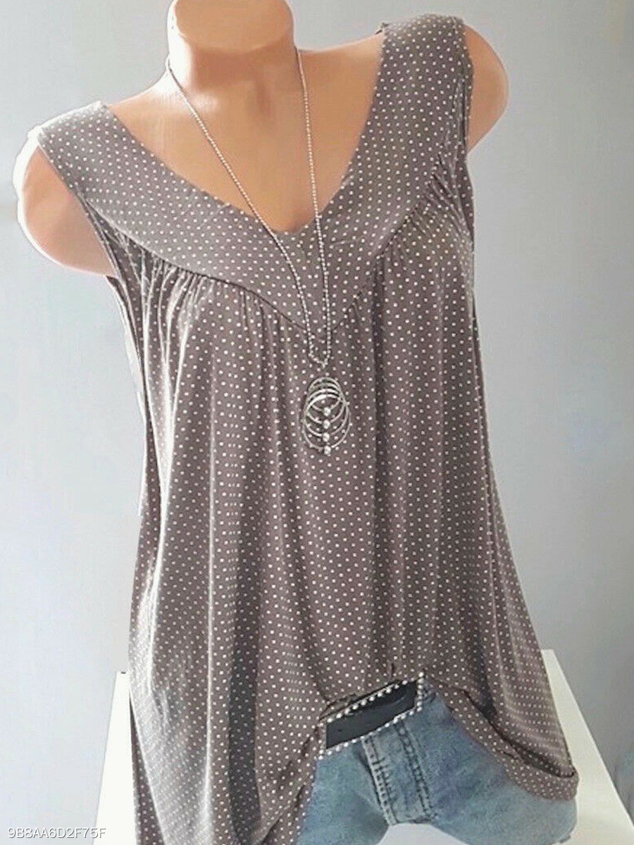 acf86a73 V Neck Patchwork Dot Sleeveless T-Shirts - fashionMia.com
