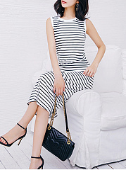 Round Neck  Striped Maxi Dress