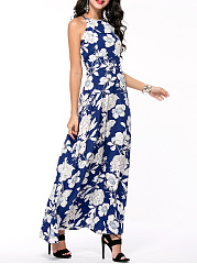 Charming Crew Neck Back Hole Floral Printed Maxi Dress