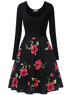 Round Neck Floral Printed Vintage Skater Dress