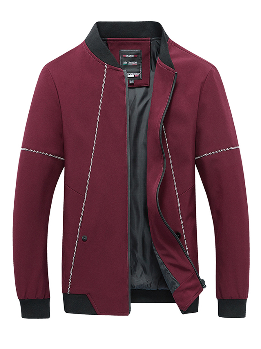 Band Collar Contrast Stitching Men Jacket