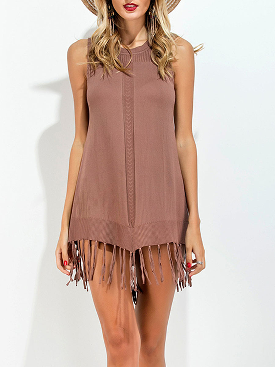 Round Neck  Fringe Patchwork  Plain  Cotton Shift Dress