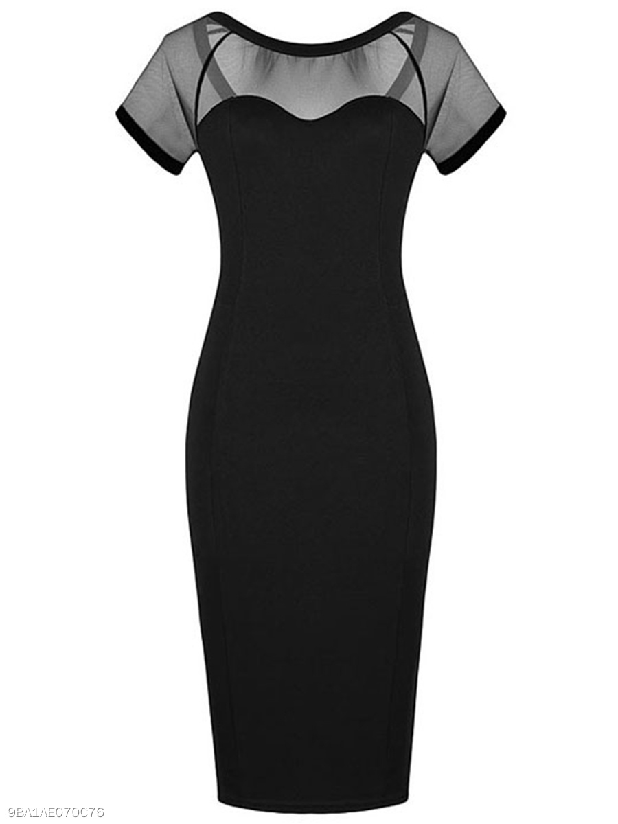 Black See-Through Round Neck Bodycon Dress