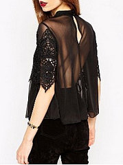 Summer  Chiffon  Women  Round Neck  Decorative Lace See-Through  Plain  Half Sleeve Blouses