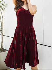 Spaghetti Strap Lace-Up Plain Velvet Skater Dress