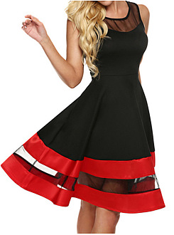 Round Neck Patchwork Color Block Hollow Out Skater Dress