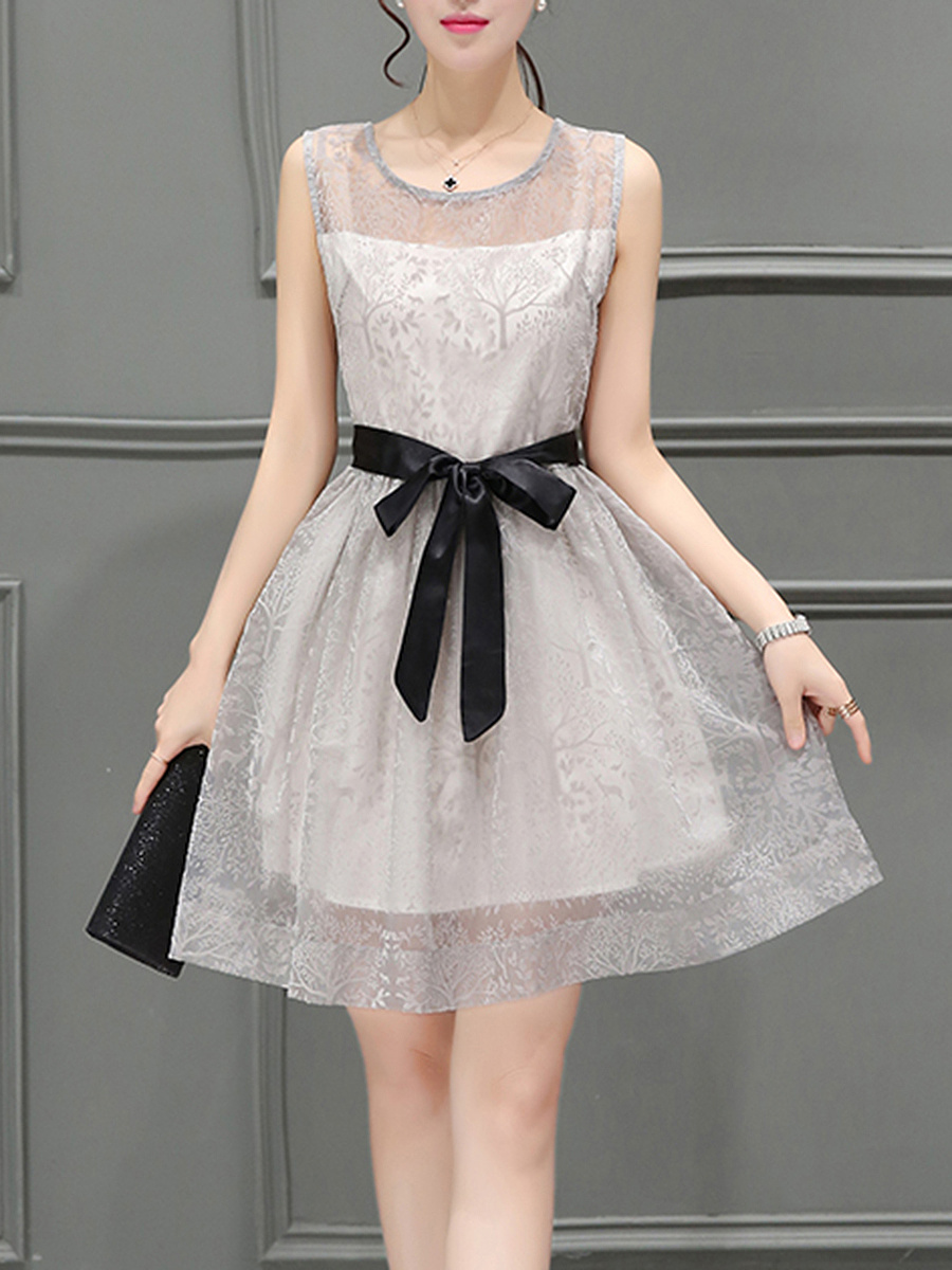 Round Neck  Bowknot  Hollow Out Skater Dress